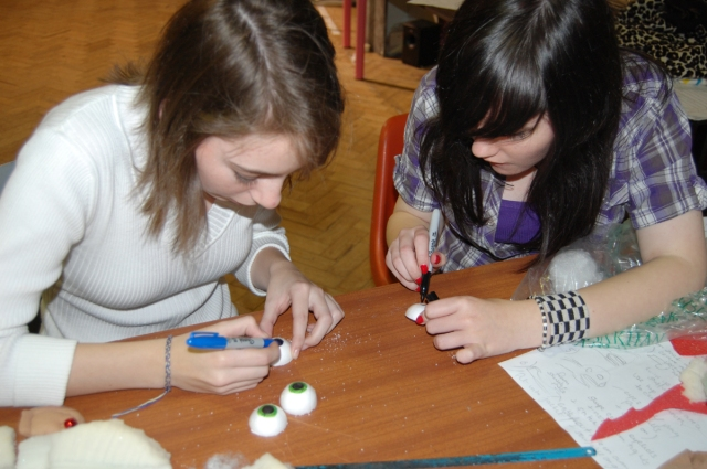 Designing and making eyeballs for use on 'Hoodies' puppets