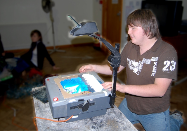 Using an overhead projector to create shadow scenes