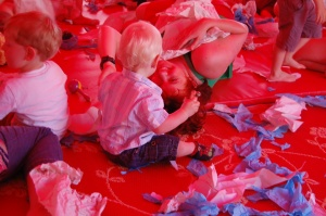 Families at Tissue play