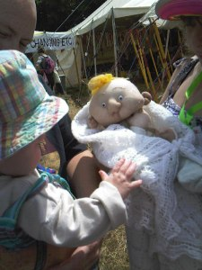 Baby puppet at Glastonbury